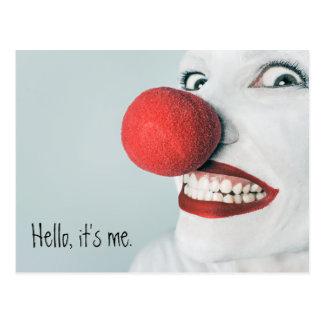 Olá!, é mim cara engraçada do palhaço cartão postal