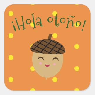 """""""Olá! etiqueta do otoño do outono/Hola"""" com bolota"""