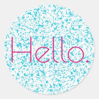 Olá! etiquetas Dalmatian azuis do impressão