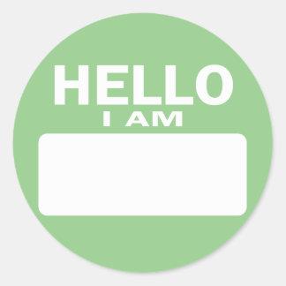 Olá! eu sou - nome de etiqueta adesivo