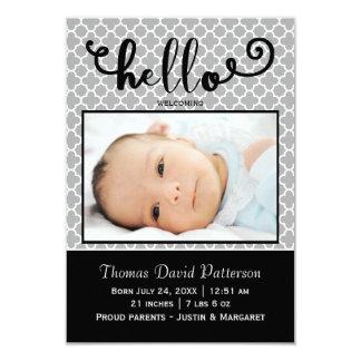 olá! foto cinzenta - anúncio do nascimento 3x5
