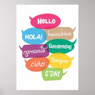 Olá! impressão do poster do mundo em 8 línguas