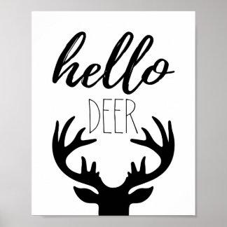 Olá! impressão do poster dos cervos
