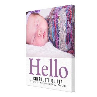 Olá! lembrança personalizada temático roxa do bebê impressão em tela