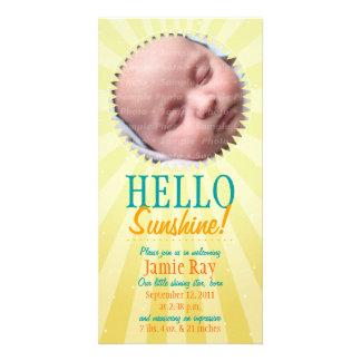 Olá! luz do sol! Anúncio do bebê Cartão Com Foto