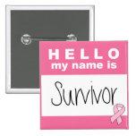 Olá! meu nome é cancro da mama do sobrevivente boton