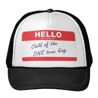 olá! meu nome é criança do um rei verdadeiro bonés