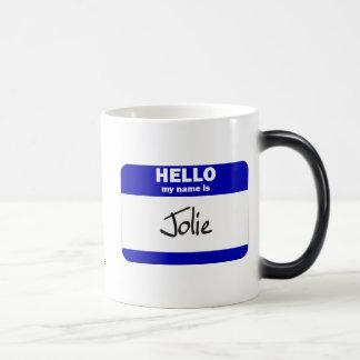 Olá! meu nome é Jolie (azul) Caneca