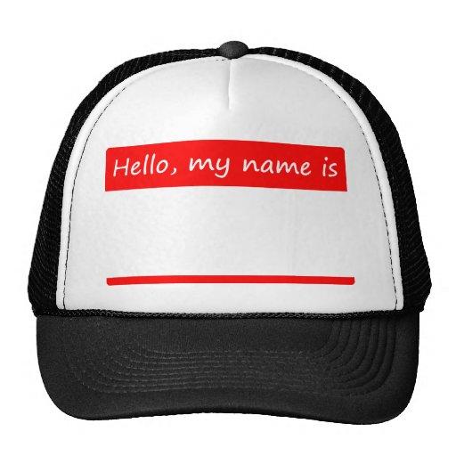 Olá!, meu nome é - nome de etiqueta bonés