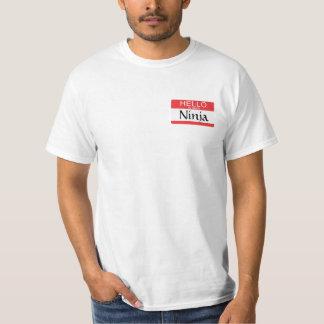 Olá! meu nome é nome de etiqueta de Ninja Camiseta