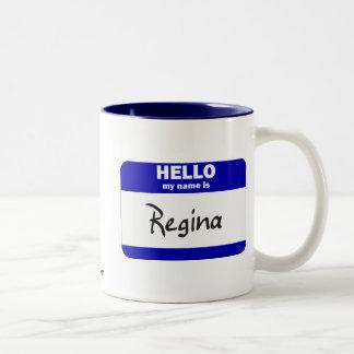 Olá! meu nome é Regina (azul) Caneca