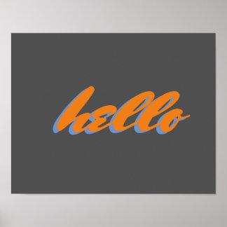 olá! poster da arte da palavra da tipografia