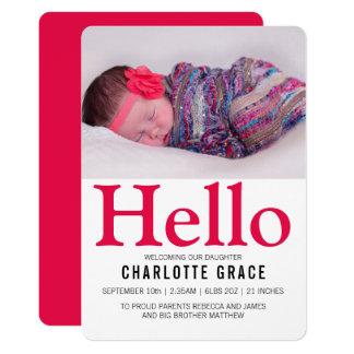 Olá! rosa brilhante do bebê novo personalizado convite 12.7 x 17.78cm