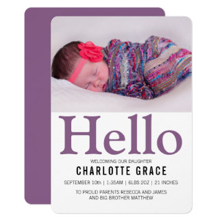 Olá! roxo novo do bebê personalizado convite 12.7 x 17.78cm