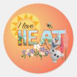 Olaf eu amo o calor adesivo redondo