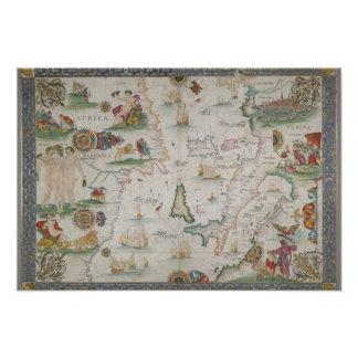 Old fashioned Mediterranean sea map Posteres