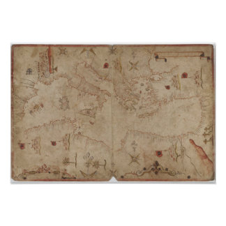 Old fashioned Mediterranean sea map Pôster