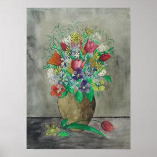 Old German Watercolor Flower Painting1900 - 1945 Pôster