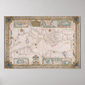 Old Mediterranean sea map Pôster