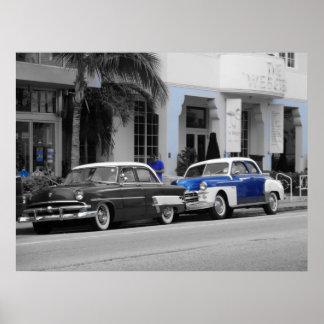 Oldtimer na movimentação Miami Beach do oceano Pôsteres
