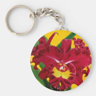 Óleo da orquídea na corrente chave das canvas chaveiro