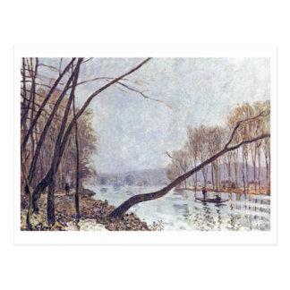 Óleo de Seine im Herbst 1879 do der de Alfred Sisl Cartoes Postais