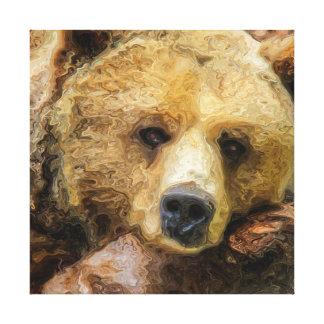 Óleo realístico preguiçoso do urso de urso na lona