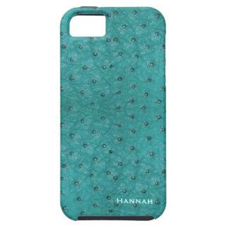 Olhar chique do couro da avestruz do Aqua Capa Para iPhone 5