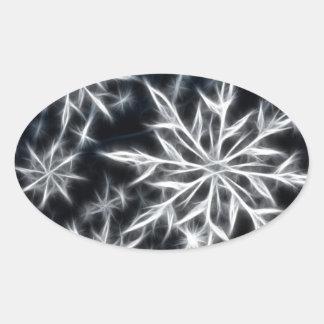 Olhar da pena do floco de neve, estilo do Natal Adesivo Oval