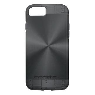 Olhar de aço inoxidável dos tons pretos metálicos capa iPhone 7