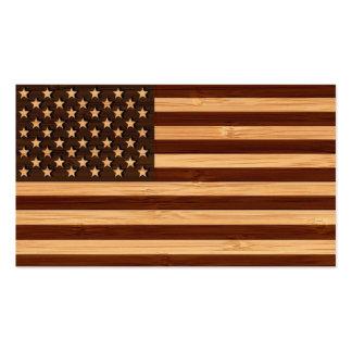 Olhar de bambu & bandeira americana gravada dos cartão de visita