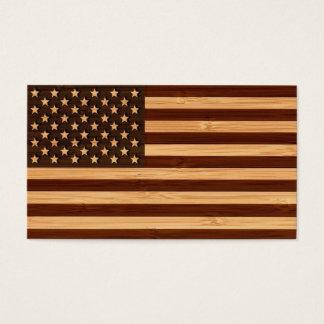 Olhar de bambu & bandeira americana gravada dos cartão de visitas