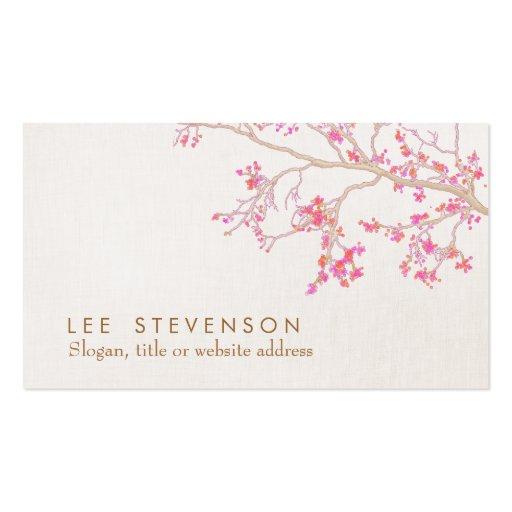 Olhar de linho das flores cor-de-rosa bonitos da f modelo cartoes de visitas