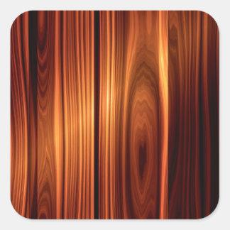 Olhar de madeira lustrado legal adesivo quadrado