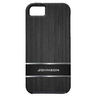 Olhar de madeira preto com etiqueta de prata | do capas para iPhone 5