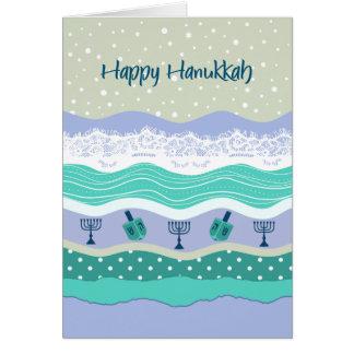 Olhar de Scrapbooking do laço de Hanukkah Dreidels Cartão Comemorativo