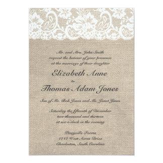 Olhar do laço do vintage & convite do casamento do