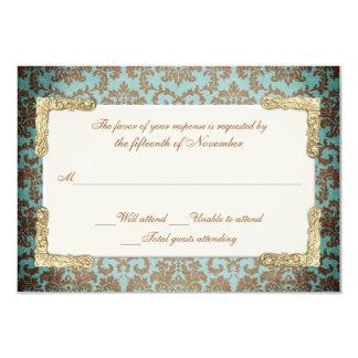 Olhar francês antigo chique do damasco que Wedding Convite 8.89 X 12.7cm