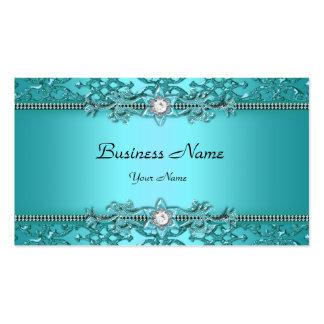 Olhar gravado da cerceta damasco azul elegante cartão de visita