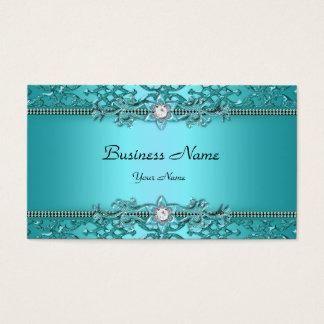 Olhar gravado da cerceta damasco azul elegante cartão de visitas