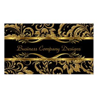 Olhar gravado do preto do ouro damasco elegante cartão de visita