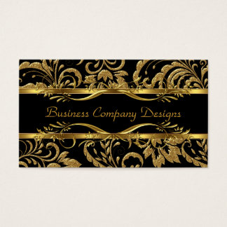 Olhar gravado do preto do ouro damasco elegante cartão de visitas