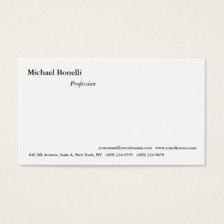 Olhar moderno minimalista branco simples liso cartão de visitas