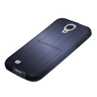 Olhar-Monograma de alumínio escovado azul escuro d Capa Para Galaxy S4