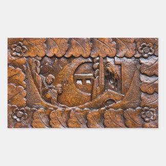 Olhar oriental de madeira cinzelado adesivo retangular