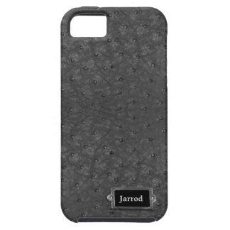 Olhar preto considerável do couro da avestruz capa para iPhone 5