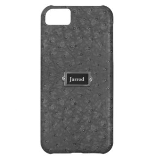 Olhar preto considerável do couro da avestruz capa para iPhone 5C