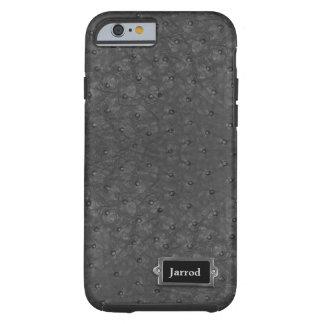 Olhar preto considerável do couro da avestruz capa tough para iPhone 6