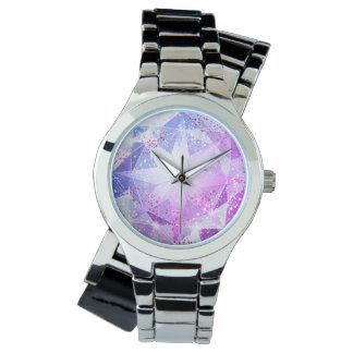 Olhar roxo azul do cristal de rocha de pedra relógio