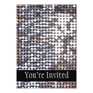 Olhar Sparkling de prata do Sequin Convite 12.7 X 17.78cm